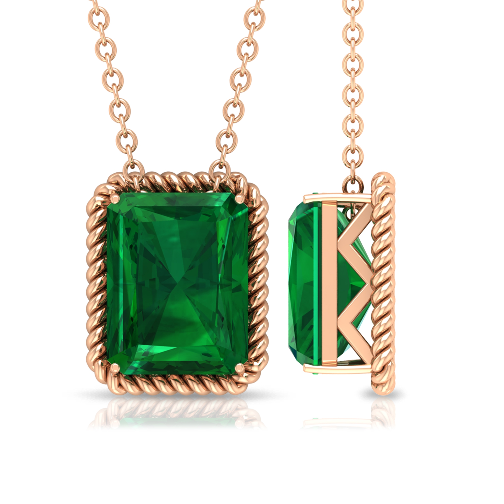 9X7 MM Octagon Cut Emerald Solitaire Necklace in Prong Setting with Rope Frame Details