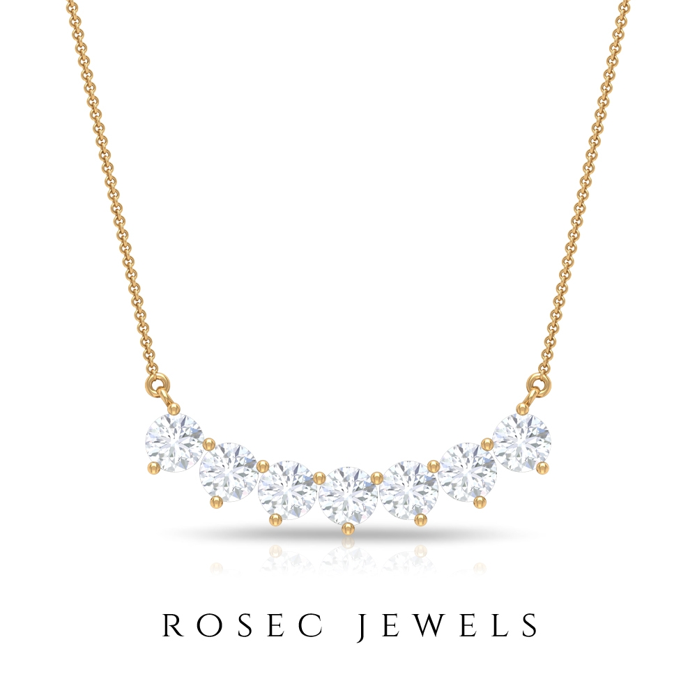 Seven Stone Bar Necklace with 1/2 CT Diamonds