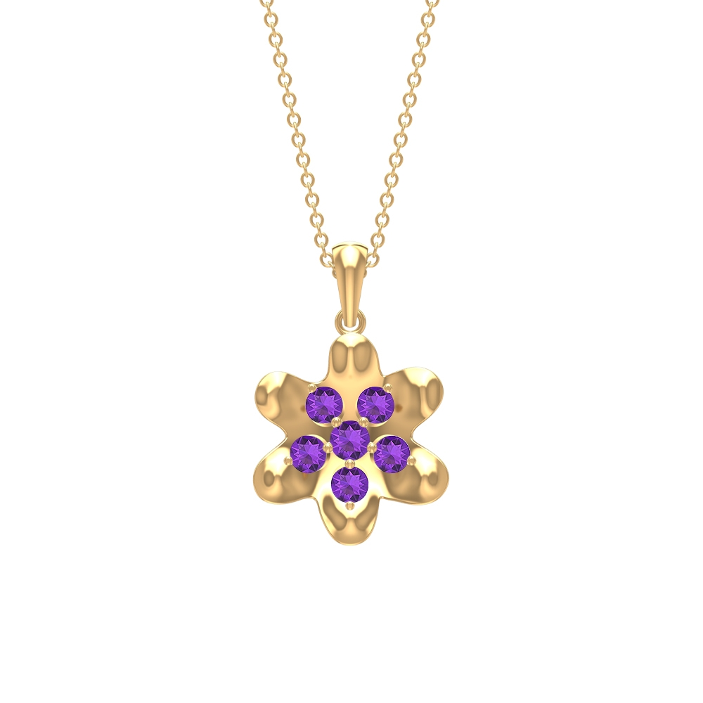 February Birthstone 1/2 CT Amethyst Floral Pendant Necklace