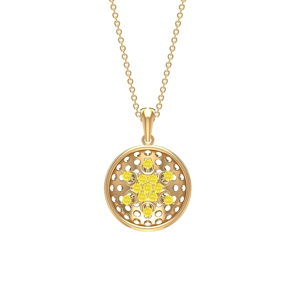 1/4 CT Lab Created Yellow Sapphire Cut Out Gold Disc Pendant