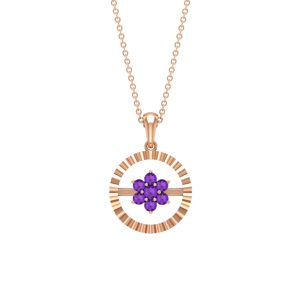 1/2 CT Amethyst Cluster Gold Engraved Pendant