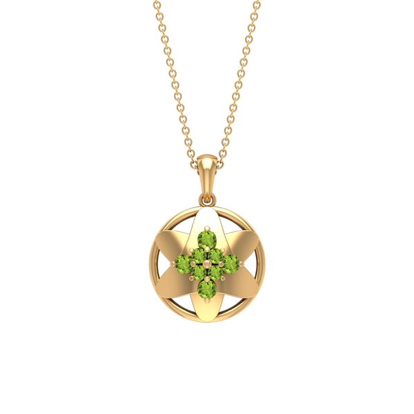 1/2 CT Peridot Cluster Flower Pendant Necklace