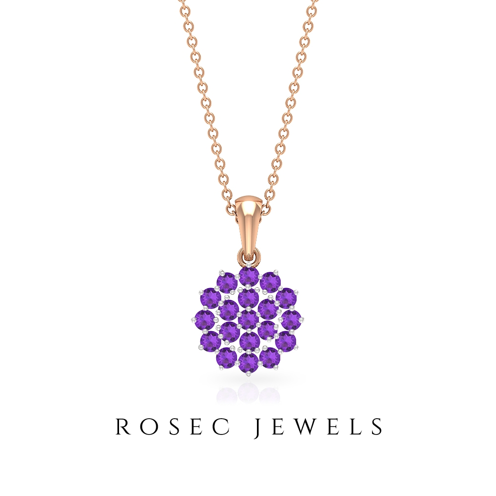 3/4 CT Amethyst Cluster Pendant Necklace