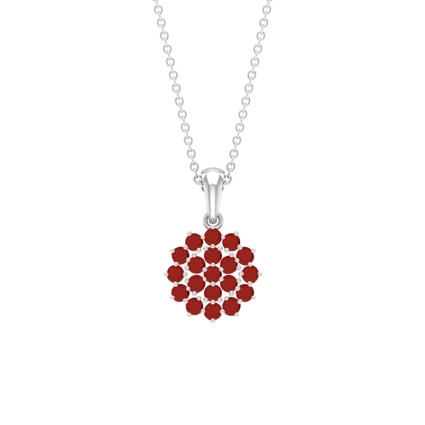 3/4 CT Red Onyx Cluster Pendant Necklace