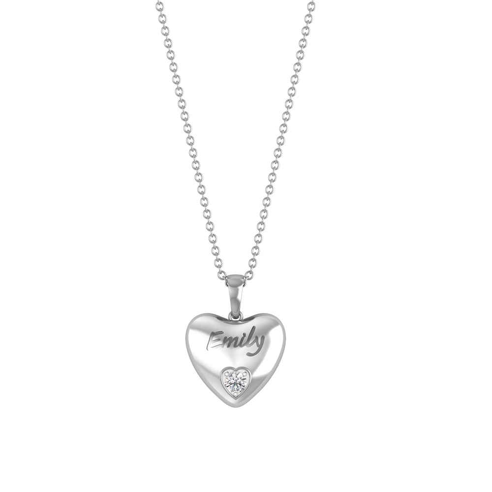 Solid Gold Heart Pendant Necklace with Diamond