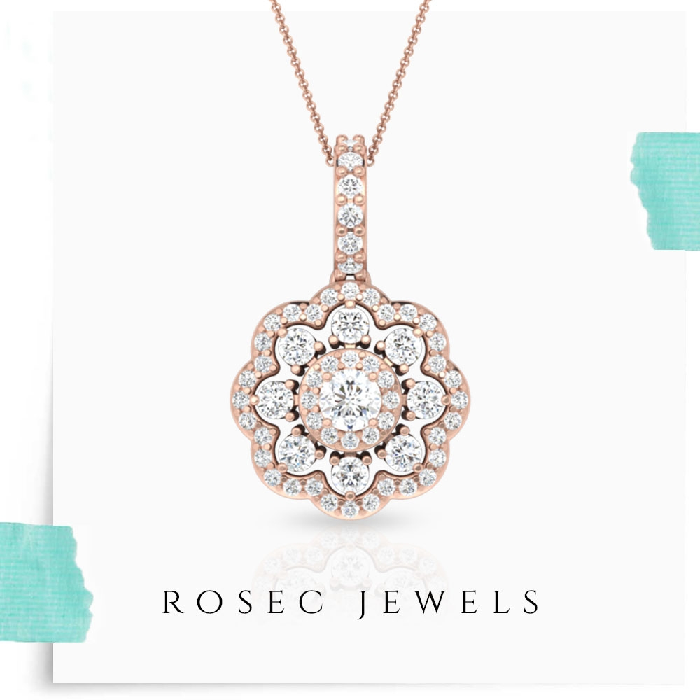 1/2 CT Diamond Cluster Flower Necklace for Women