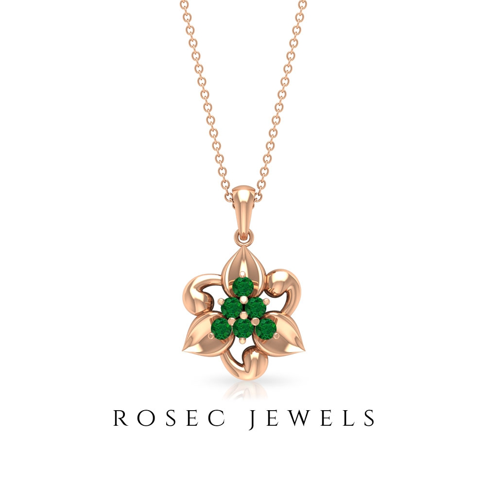1/2 CT Emerald Cluster Floral Gold Necklace