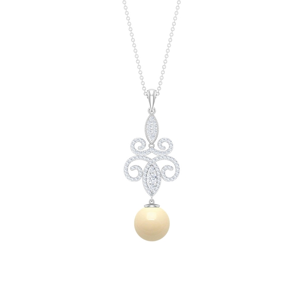 6.25 CT Japanese Cultured Pearl Drop Filigree Pendant Necklace with Diamond Accent