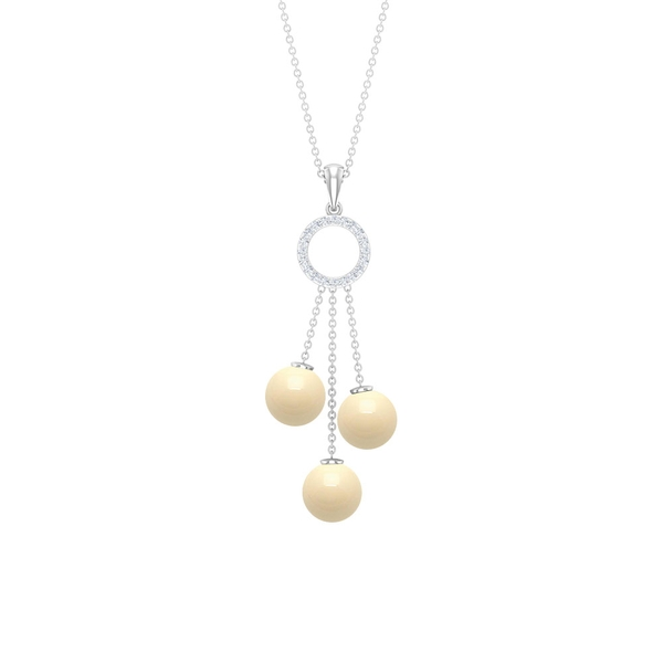 12 CT Japanese Cultured Pearl Dangle Drop Pendant Necklace with Diamond Accent