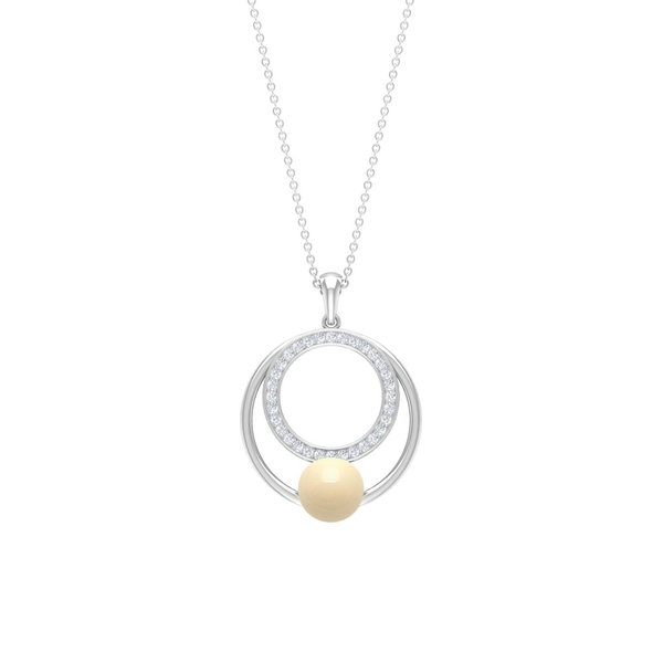 4.25 CT Japanese Cultured Pearl and Diamond Circle Pendant Necklace
