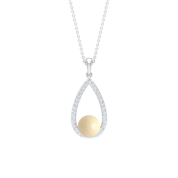 4.50 CT Japanese Cultured Pearl Teardrop Pendant Necklace with Diamond Accent