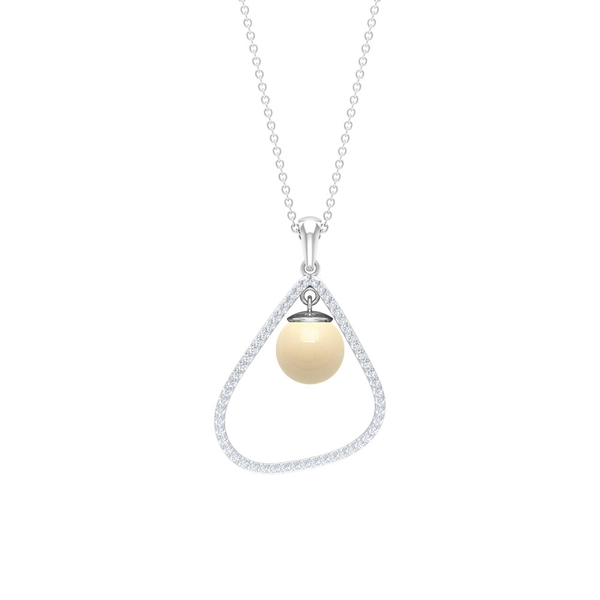 4.25 CT Japanese Cultured Pearl Drop Estate Pendant Necklace with Diamond Accent