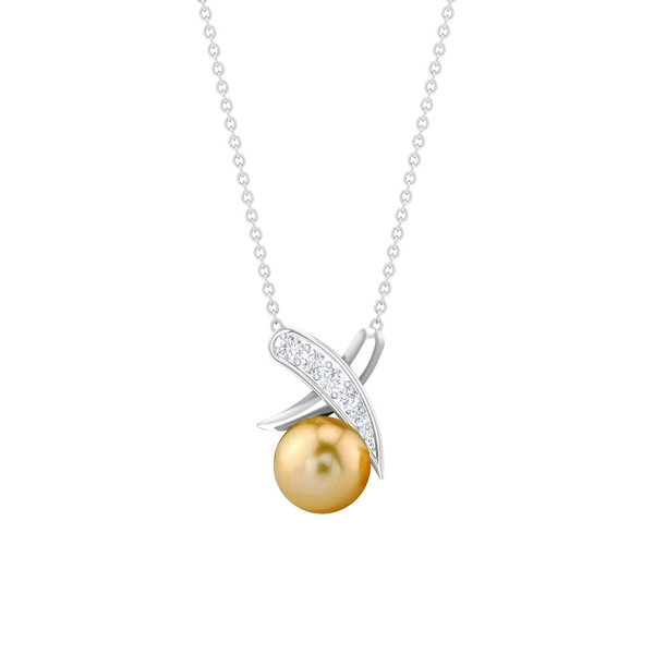 4.25 CT South Sea Pearl and Diamond Accent XO Pendant for Women