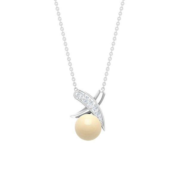 4 CT Japanese Cultured Pearl and Diamond Accent XO Pendant Necklace