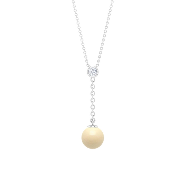 4 CT Japanese Cultured Pearl Dangle Drop Pendant Necklace with Diamond