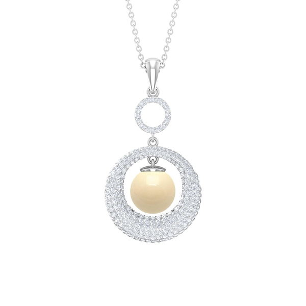 5 CT Japanese Cultured Pearl and Diamond Statement Pendant Necklace