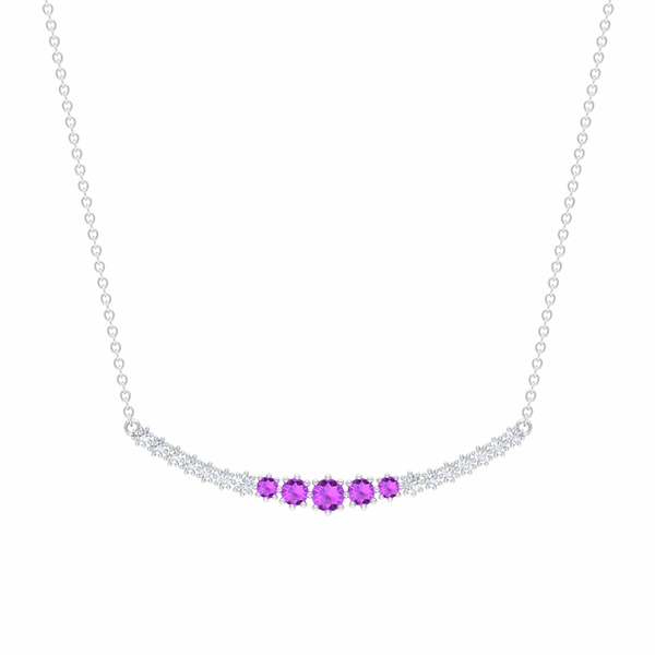 3/4 CT Created Kunzite and Diamond Curved Bar Pendant Necklace