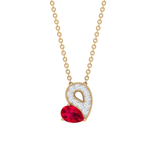 3/4 CT Pear Ruby and Diamond Solitaire Pendant Necklace