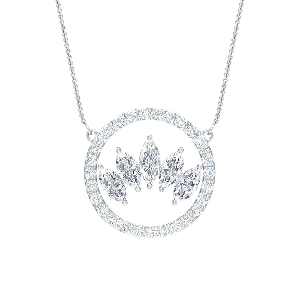 1/2 CT Circle Crown Necklace for Women with Marquise and Round Diamonds