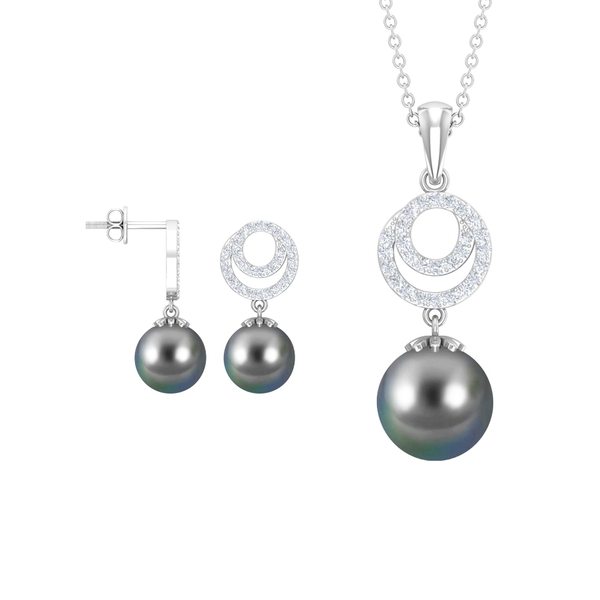 14.75 CT Tahitian Pearl Jewelry Set with Diamond Accent