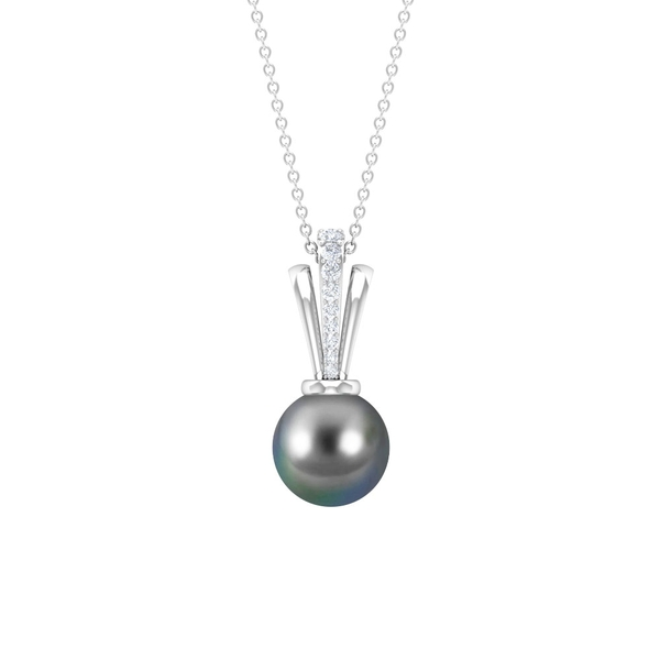 5.5 CT Tahitian Pearl and Diamond Statement Pendant Necklace