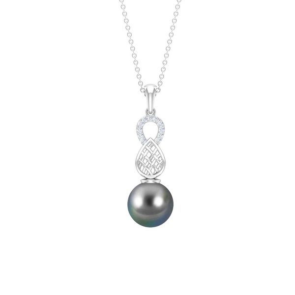 7.58 CT Tahitian Pearl Drop Pendant Necklace with Diamond