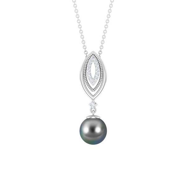 4.75 CT Tahitian Pearl Drop Marquise Pendant Necklace with Diamonds