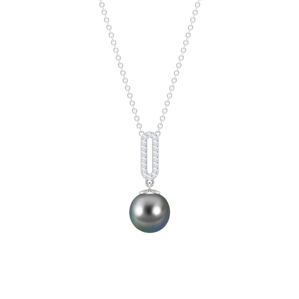 4.5 CT Tahitian Pearl Drop Pendant Necklace with Diamonds