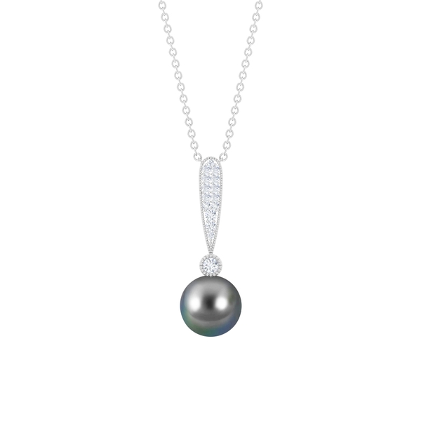 7.75 CT Diamond Cluster Pendant Necklace with Tahitian Pearl Drop