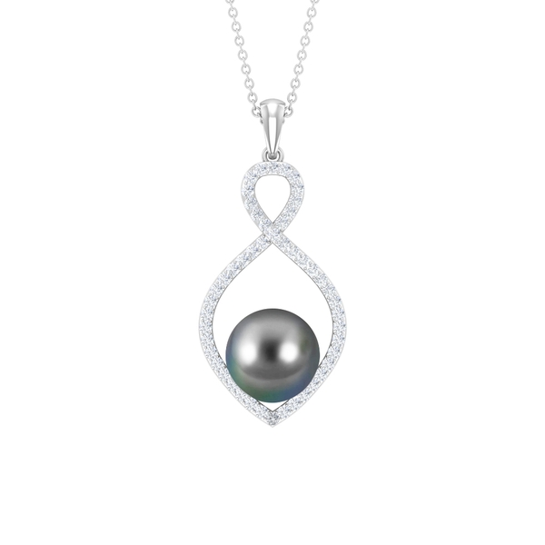 7.75 CT Diamond Infinity Charm Pendant Necklace with Tahitian Pearl Drop