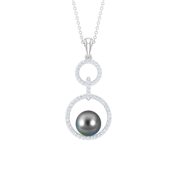 4.75 CT Tahitian Pearl and Diamond Open Circle Pendant Necklace