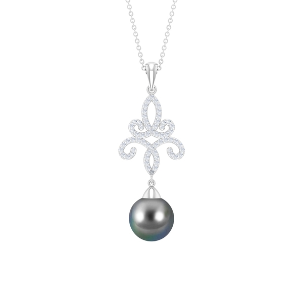 7.75 CT Tahitian Pearl Drop Pendant Necklace with Diamond Accent