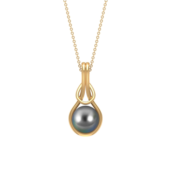 7.5 CT Tahitian Pearl Solitaire Twisted Pendant Necklace