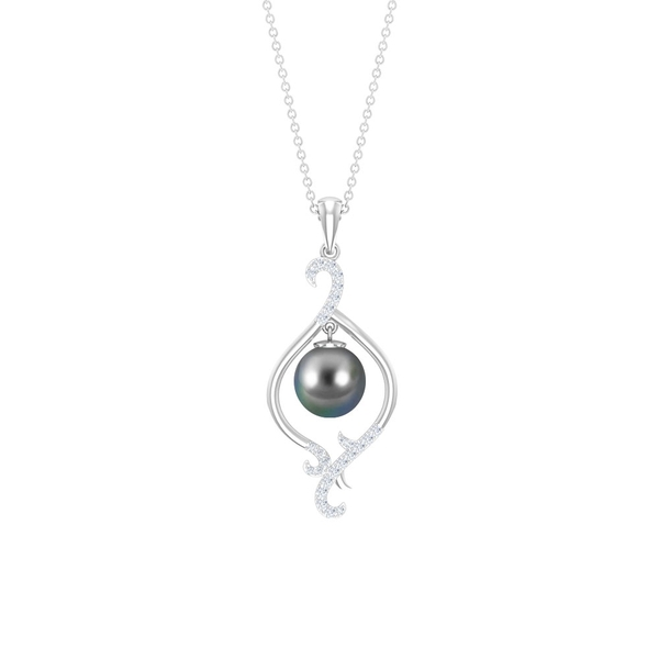 4.75 CT Tahitian Pearl and Diamond Charm Pendant Necklace