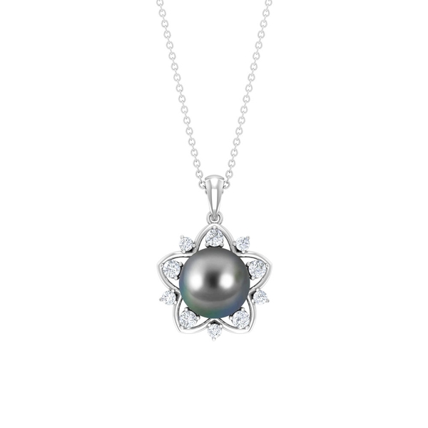 7.75 CT Tahitian Pearl and Diamond Gold Star Pendant Necklace