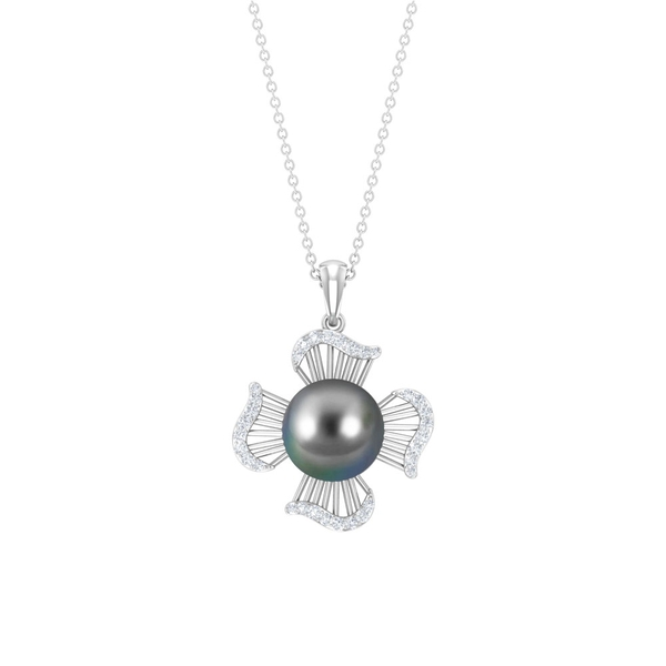 7.75 CT Tahitian Pearl Vintage Flower Pendant Necklace with Diamonds