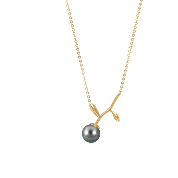 7 MM Tahitian Pearl Solitaire Pendant Necklace