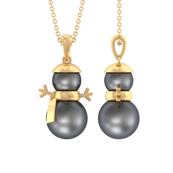 10.50 CT Tahitian Pearl Snowman Charm Pendant Necklace