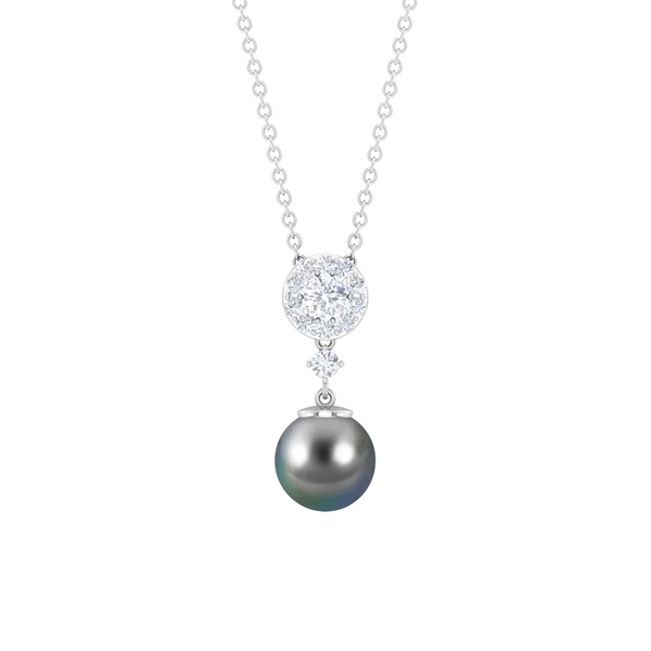 3.25 CT Tahitian Pearl Drop and Diamond Cluster Pendant Necklace