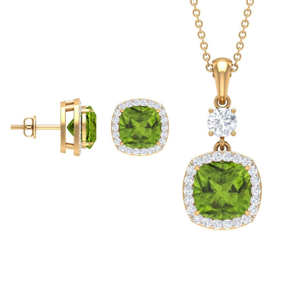 7 CT Cushion Cut Peridot Pendant and Earrings Set with Moissanite Halo