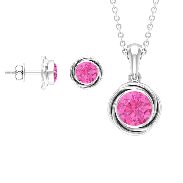 2 CT Lab Created Pink Sapphire Swirl Pendant and Stud Earrings Set