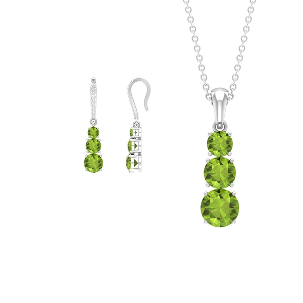 3.50 CT Three Stone Peridot Drop Pendant and Earrings Set with Diamond Accent