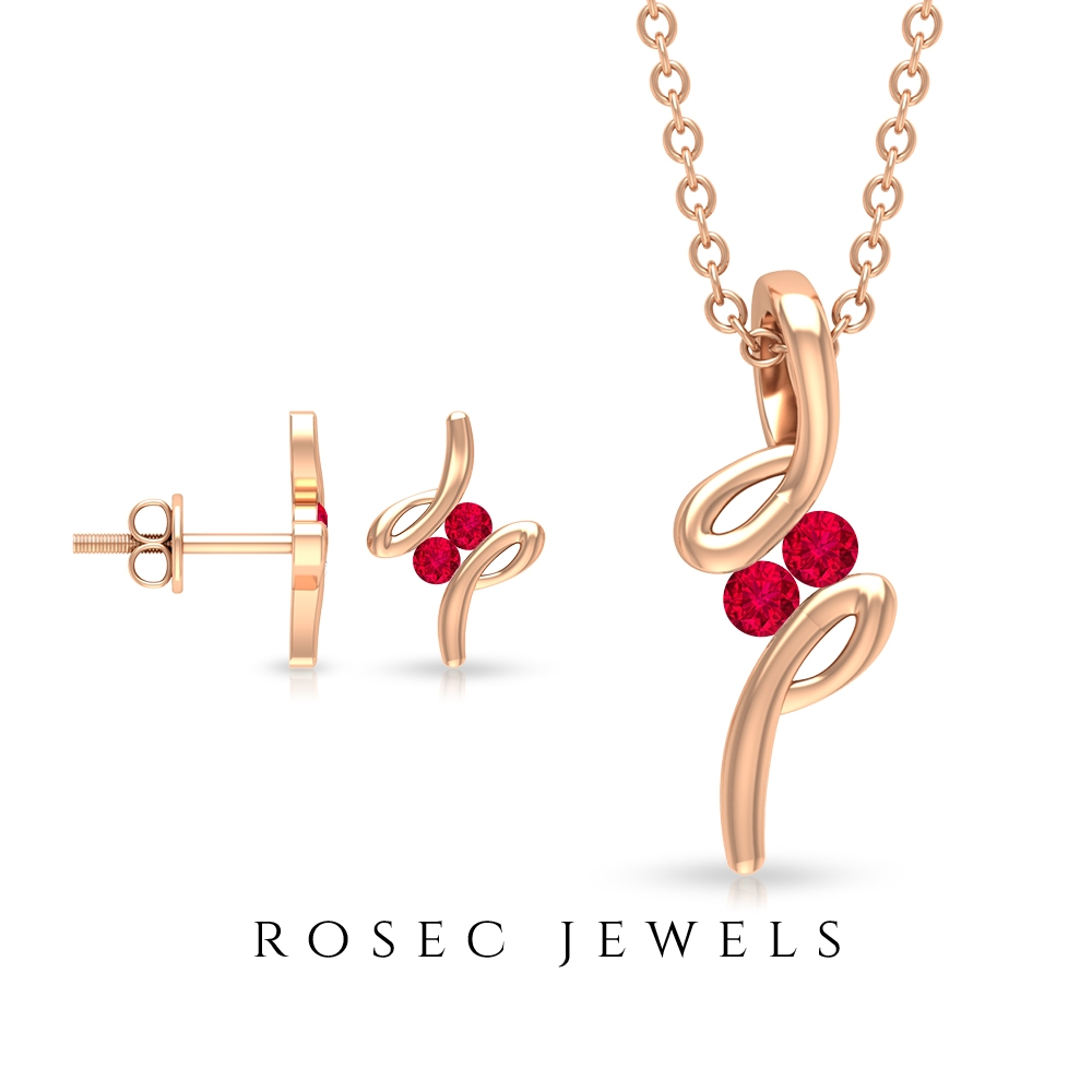 1/4 CT Cute Ruby Stackable Jewelry Set in Bypass Setting