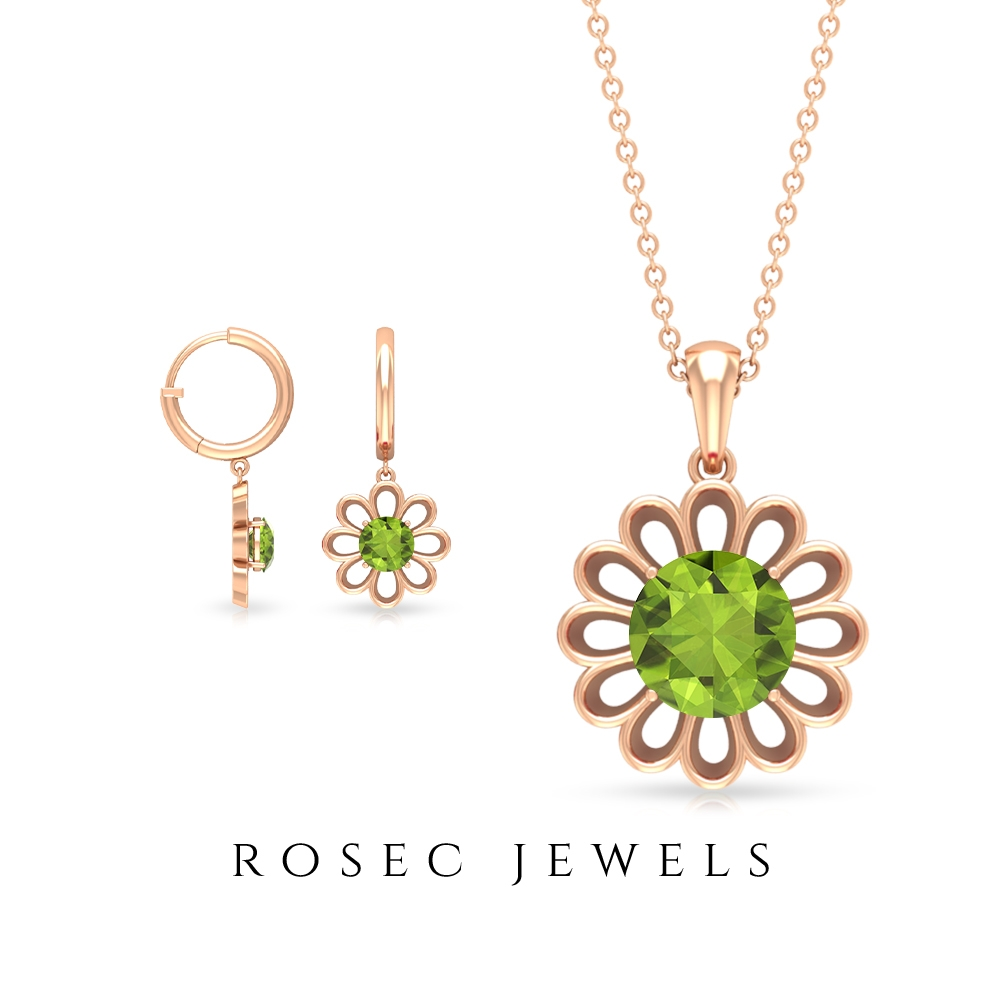 1.25 CT Peridot Solitaire Flower Pendant and Drop Earrings Set