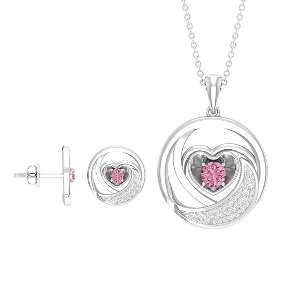 3/4 CT Tourmaline and Diamond Heart and Moon Necklace and Earrings Set