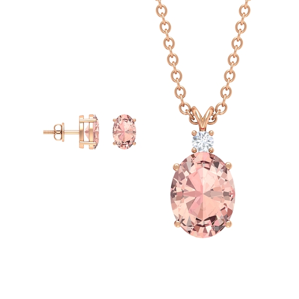 2.75 CT Oval Cut Created Morganite Solitaire Jewelry Set with Diamond