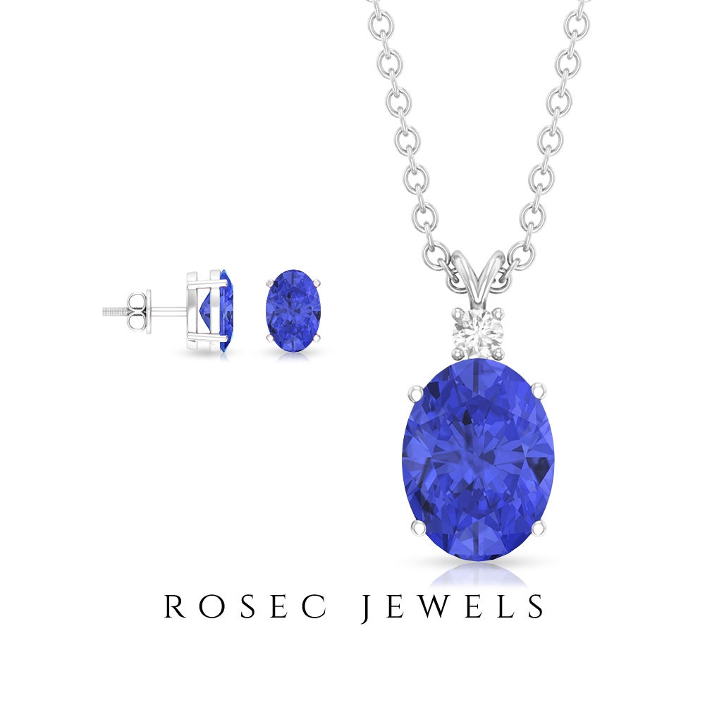 2.25 CT Oval Cut Tanzanite Solitaire Jewelry Set with Diamond