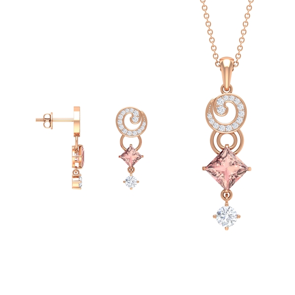 3.25 CT Princess Cut Lab Created Morganite and Moissanite Spiral Drop Pendant and Earrings Set