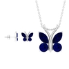 4.75 CT Blue Sapphire Butterfly Pendant and Earrings Set in Gold