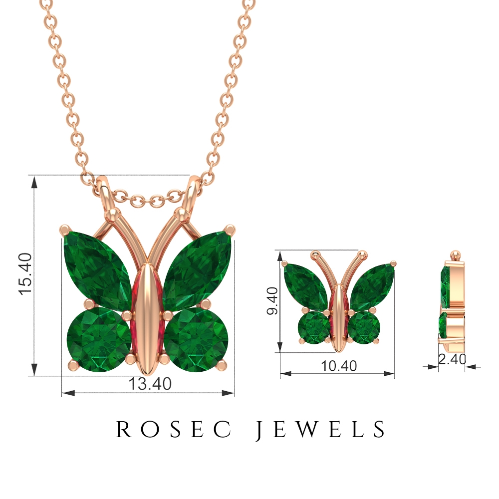 3.50 CT Emerald Butterfly Pendant and Earrings Set in Gold